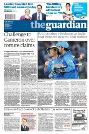 The Guardian () Newspaper Front Page for 31 March 2011