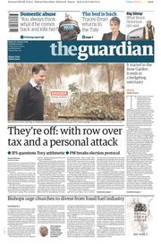 The Guardian (UK) Newspaper Front Page for 31 March 2015