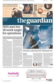 The Guardian (UK) Newspaper Front Page for 31 March 2017