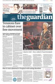 The Guardian (UK) Newspaper Front Page for 31 July 2017