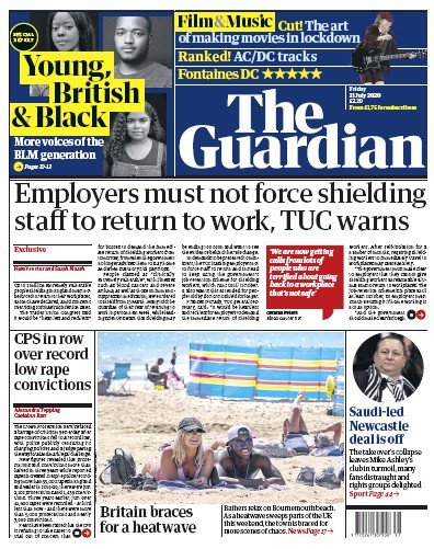 The Guardian Newspaper Front Page (UK) for 31 July 2020