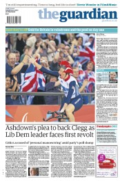 The Guardian Newspaper Front Page (UK) for 31 August 2012