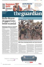 The Guardian (UK) Newspaper Front Page for 31 August 2015