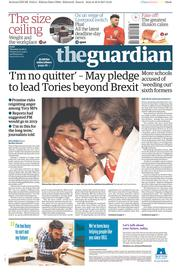 The Guardian (UK) Newspaper Front Page for 31 August 2017