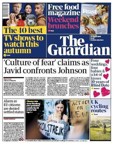 The Guardian Newspaper Front Page (UK) for 31 August 2019