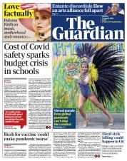 The Guardian (UK) Newspaper Front Page for 31 August 2020
