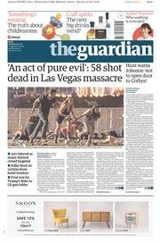 The Guardian (UK) Newspaper Front Page for 3 October 2017