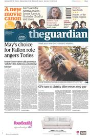 The Guardian () Newspaper Front Page for 3 November 2017
