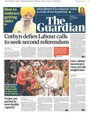 The Guardian (UK) Newspaper Front Page for 3 January 2019