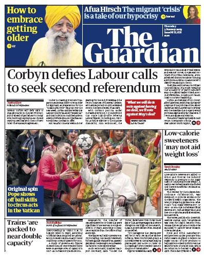 The Guardian Newspaper Front Page (UK) for 3 January 2019