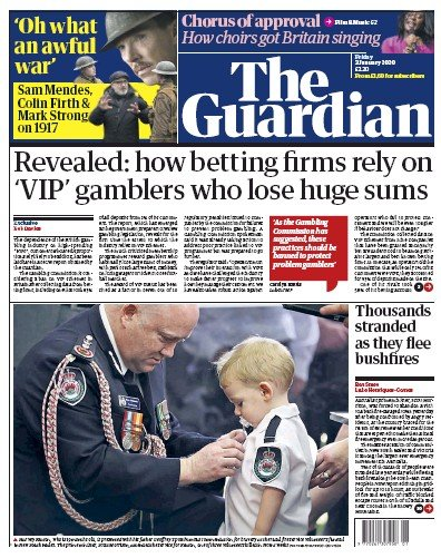 The Guardian Newspaper Front Page (UK) for 3 January 2020