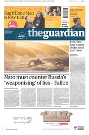 The Guardian (UK) Newspaper Front Page for 3 February 2017