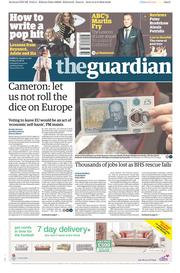 The Guardian () Newspaper Front Page for 3 June 2016