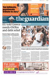 The Guardian (UK) Newspaper Front Page for 3 July 2015