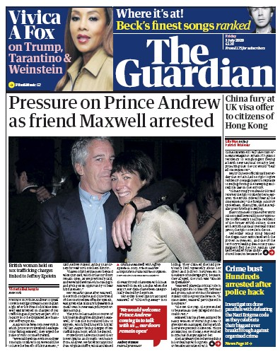 The Guardian Newspaper Front Page (UK) for 3 July 2020