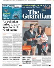 The Guardian (UK) Newspaper Front Page for 3 August 2018