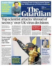 The Guardian front page for 3 August 2020