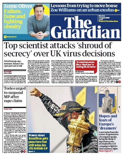 The Guardian Newspaper Front Page (UK) for 3 August 2020