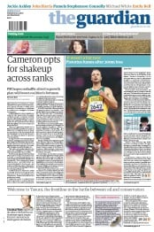 The Guardian Newspaper Front Page (UK) for 3 September 2012