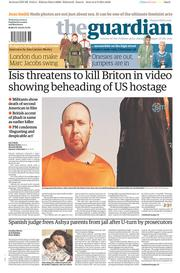 The Guardian (UK) Newspaper Front Page for 3 September 2014
