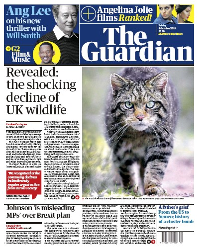 The Guardian Newspaper Front Page (UK) for 4 October 2019