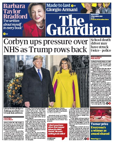 The Guardian Newspaper Front Page (UK) for 4 December 2019