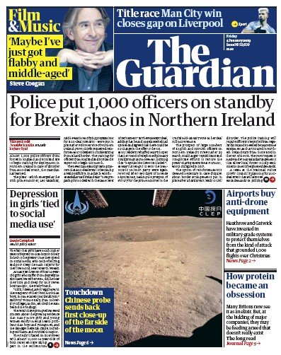 The Guardian Newspaper Front Page (UK) for 4 January 2019