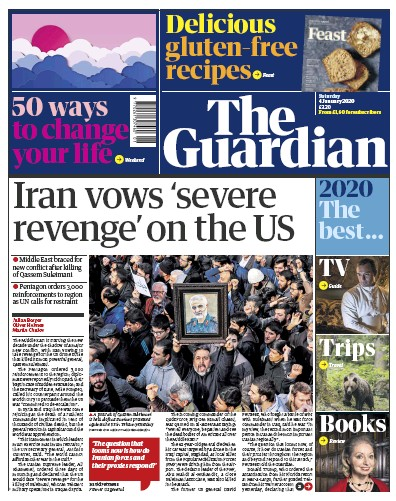 The Guardian Newspaper Front Page (UK) for 4 January 2020