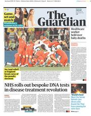 The Guardian (UK) Newspaper Front Page for 4 July 2018