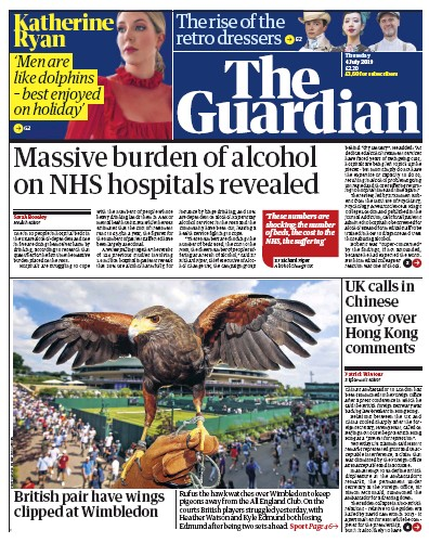 The Guardian Newspaper Front Page (UK) for 4 July 2019