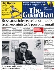 The Guardian front page for 4 August 2020