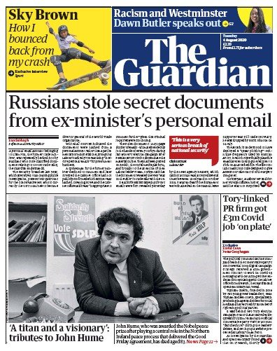 The Guardian Newspaper Front Page (UK) for 4 August 2020