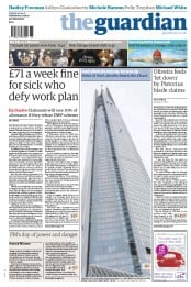 The Guardian Newspaper Front Page (UK) for 4 September 2012