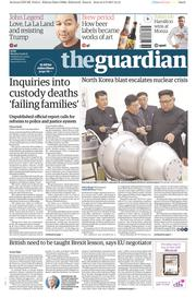 The Guardian (UK) Newspaper Front Page for 4 September 2017