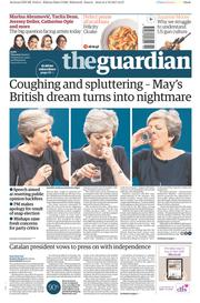 The Guardian (UK) Newspaper Front Page for 5 October 2017