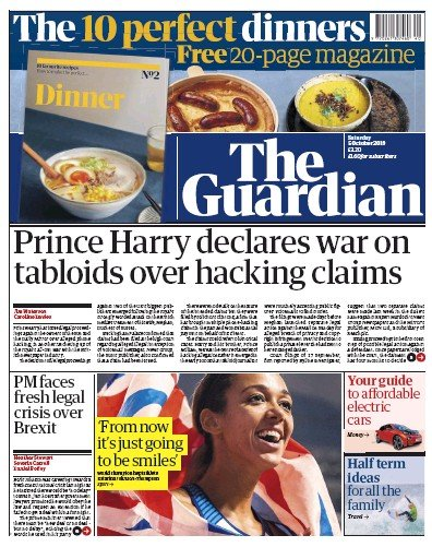The Guardian Newspaper Front Page (UK) for 5 October 2019