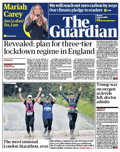 The Guardian Newspaper Front Page (UK) for 5 October 2020