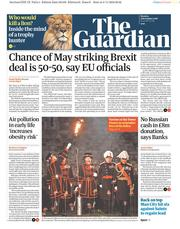 The Guardian (UK) Newspaper Front Page for 5 November 2018