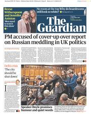 The Guardian (UK) Newspaper Front Page for 5 November 2019