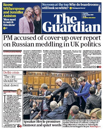 The Guardian Newspaper Front Page (UK) for 5 November 2019