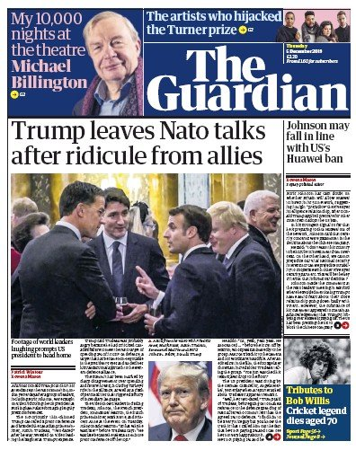 The Guardian Newspaper Front Page (UK) for 5 December 2019
