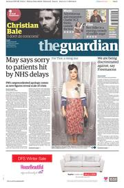 The Guardian (UK) Newspaper Front Page for 5 January 2018