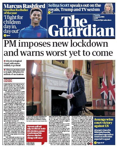 The Guardian Newspaper Front Page (UK) for 5 January 2021