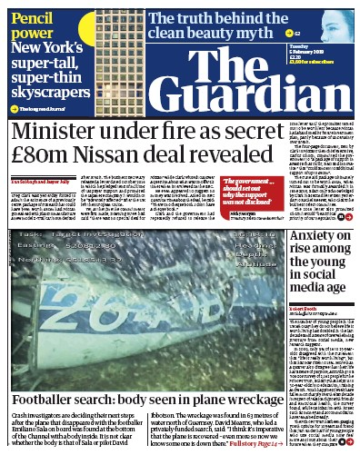 The Guardian Newspaper Front Page (UK) for 5 February 2019