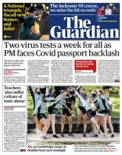 The Guardian (UK) Newspaper Front Page for 5 April 2021