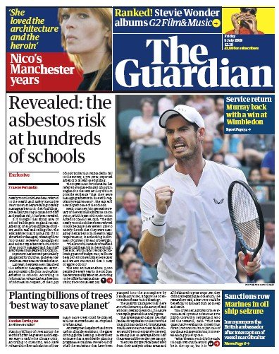 The Guardian Newspaper Front Page (UK) for 5 July 2019