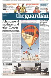 The Guardian (UK) Newspaper Front Page for 5 August 2015