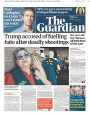 The Guardian (UK) Newspaper Front Page for 5 August 2019