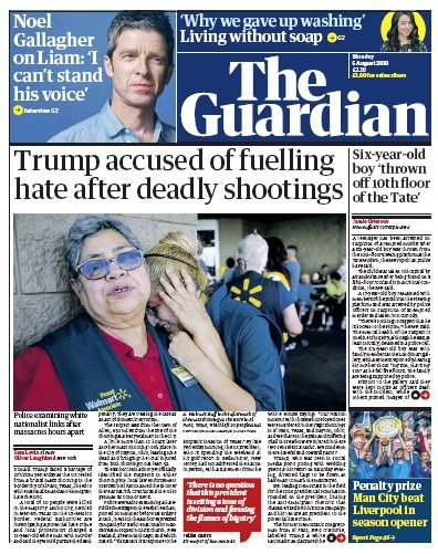 The Guardian Newspaper Front Page (UK) for 5 August 2019