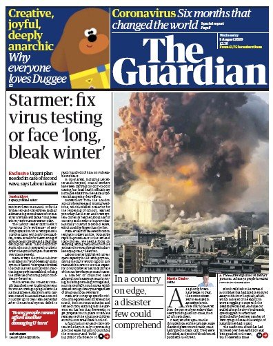 The Guardian Newspaper Front Page (UK) for 5 August 2020